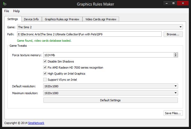 Graphics Rules Maker - Tweaks enabled