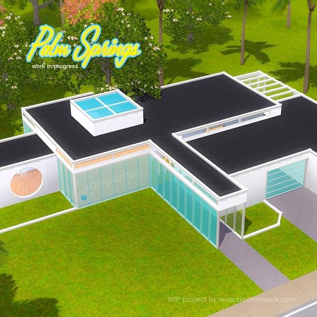 Mid century modern huis in de sims 4 snw - Huis in de moderne ...