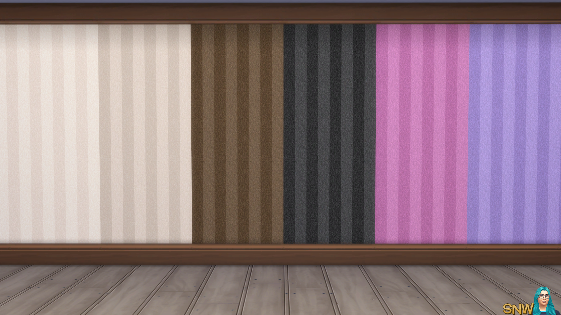 Valentine's Day 2018 / Love Wallpaper #6 Stripes (Kick and Crown Molding in Medium Wood)