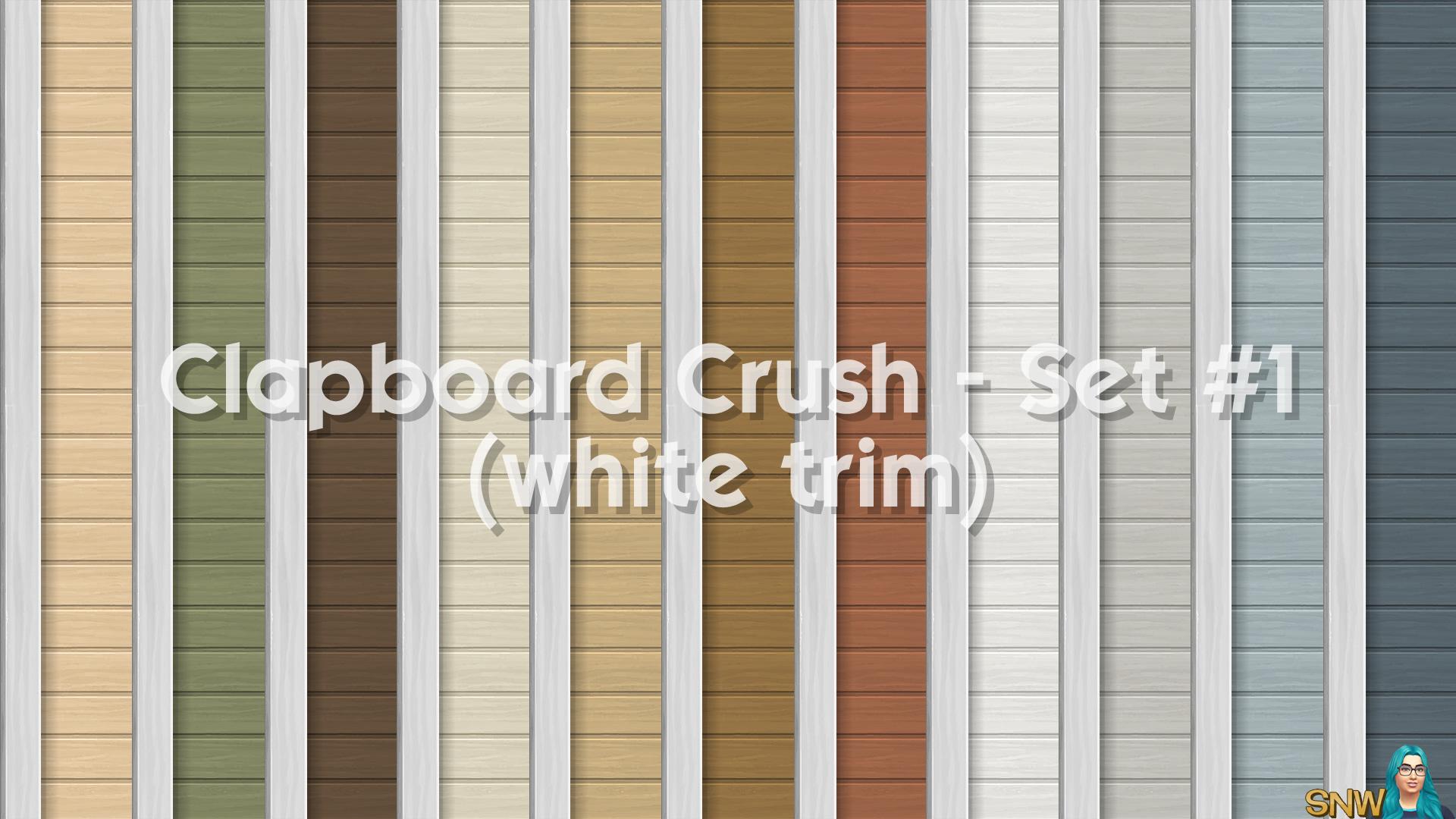 Clapboard Crush Siding Walls Set #1 (with White Corner Trim)