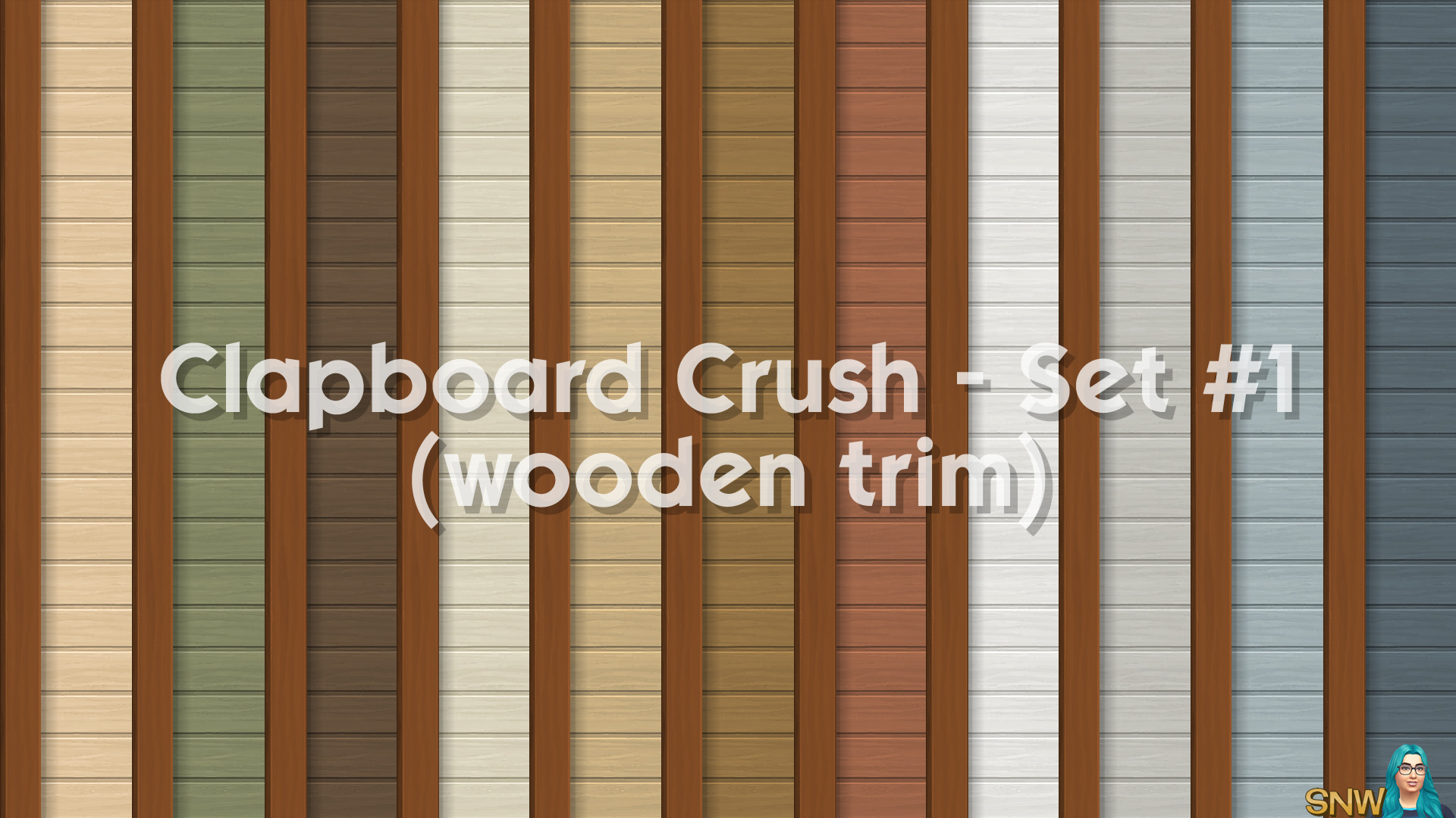 Clapboard Crush Siding Walls Set #1 (with Wooden Corner Trim)