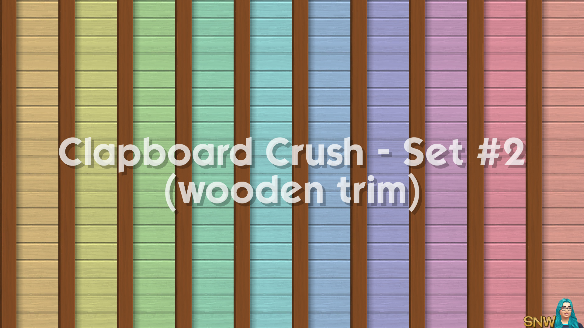 Clapboard Crush Siding Walls Set #2 (with Wooden Corner Trim)