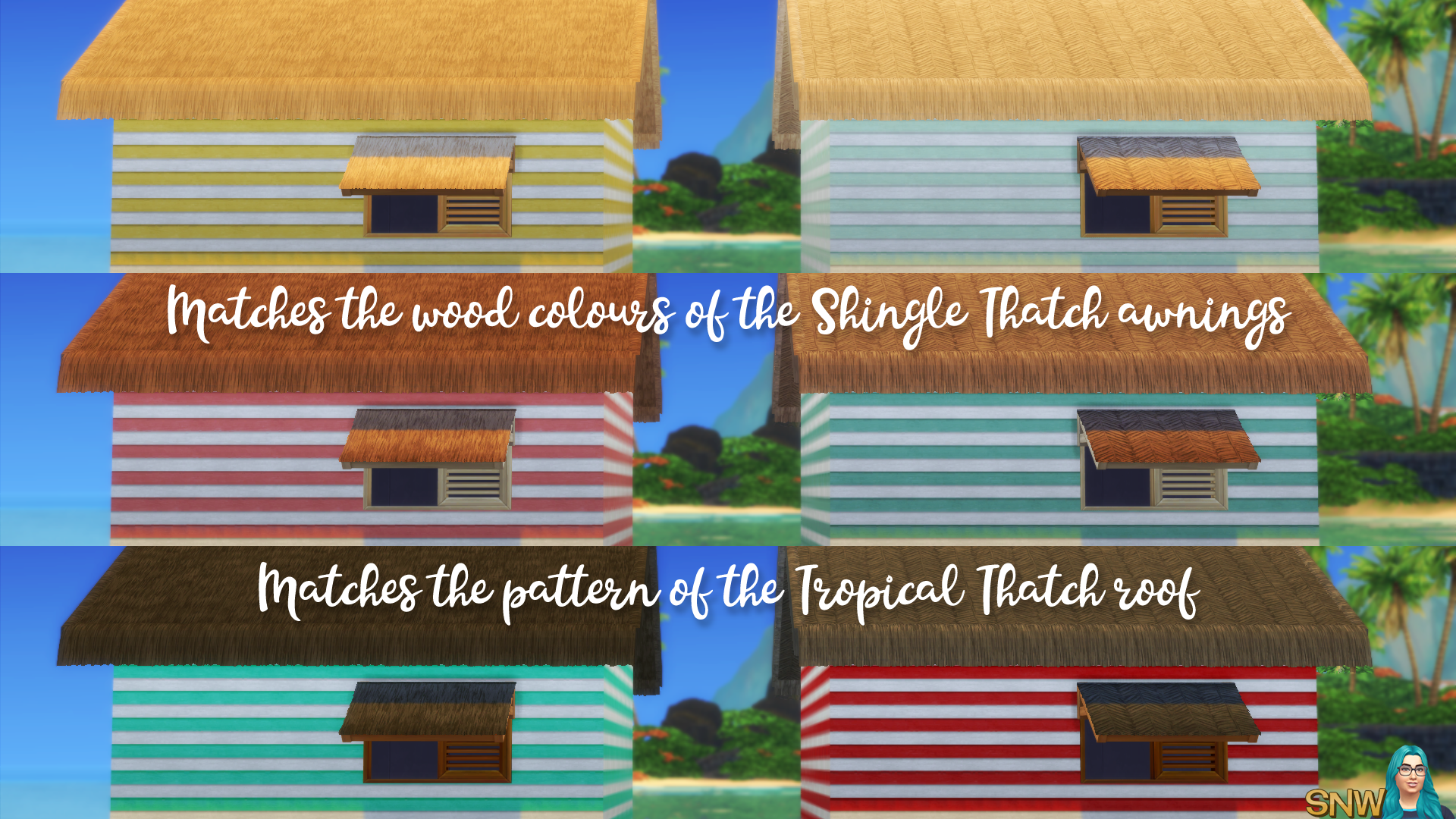 Tropical Thatch Awnings (matches the Tropical Thatch roof from Island Living)