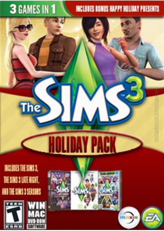 The Sims 3 Holiday Pack packshot box art