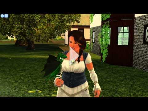 The Sims 3 Dragon Valley: Playing with Veggie (the green dragon)